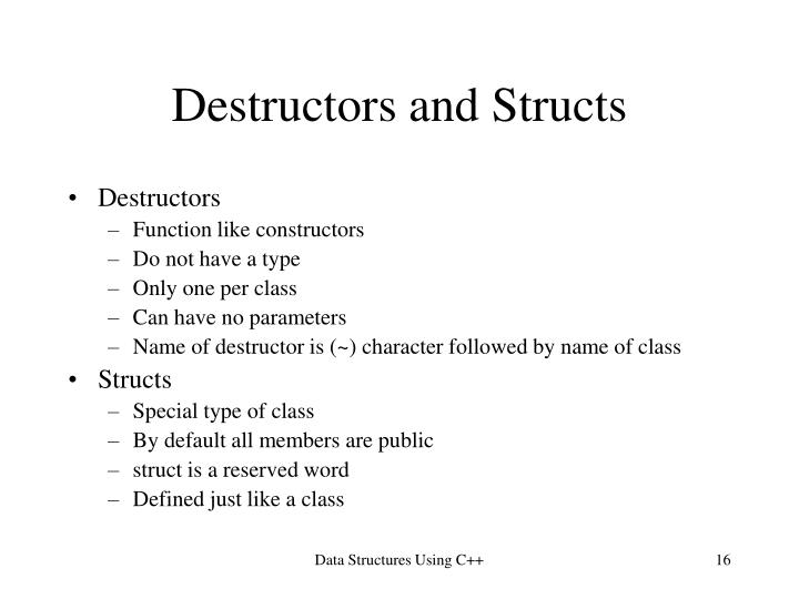 Destructors and Structs