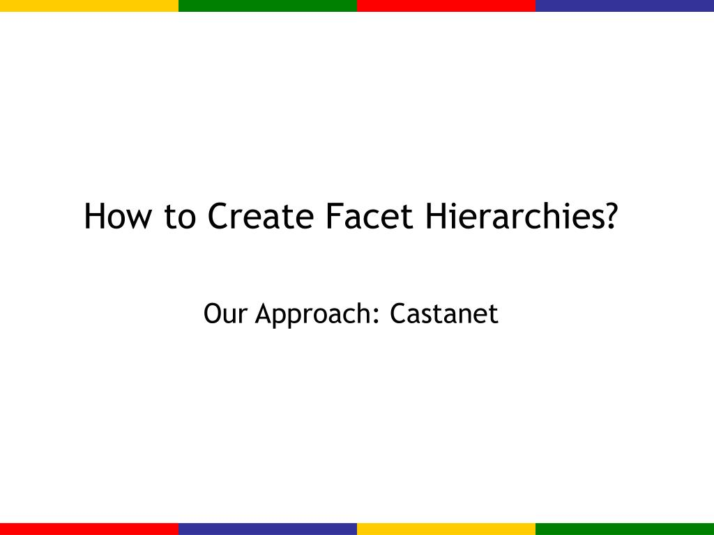 How to Create Facet Hierarchies?