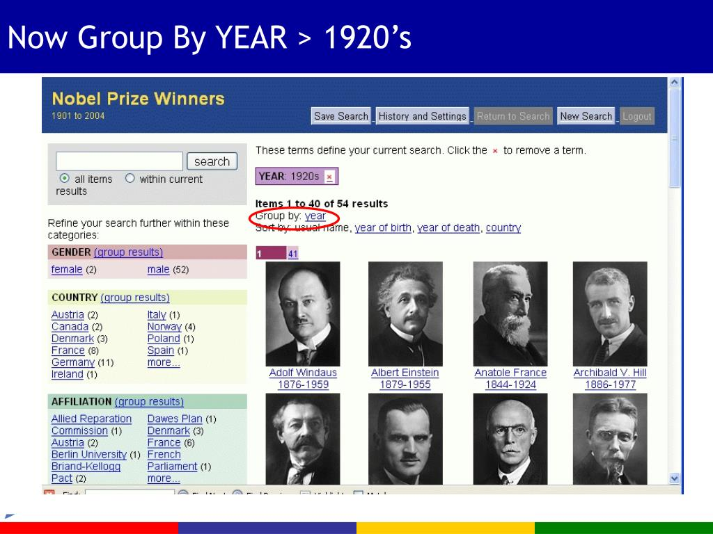 Now Group By YEAR > 1920's