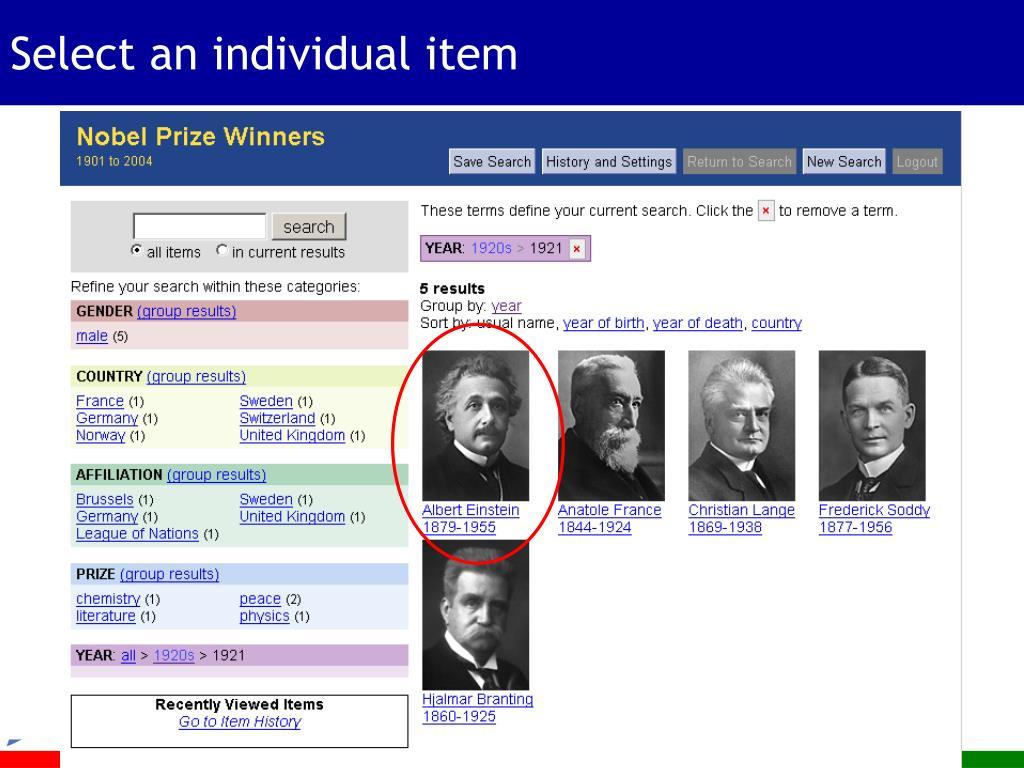 Select an individual item