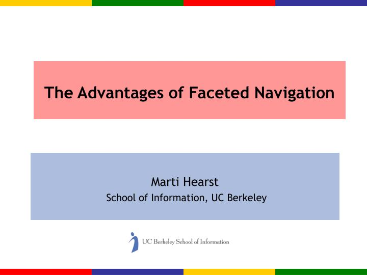 The advantages of faceted navigation l.jpg