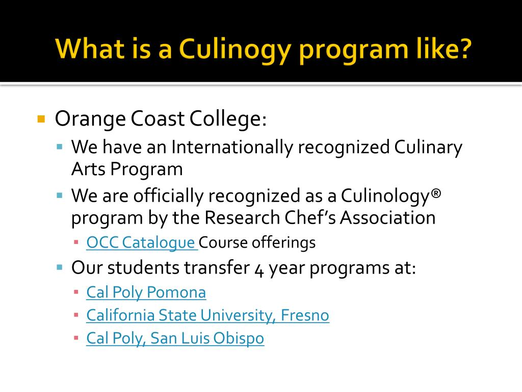 What is a Culinogy program like?