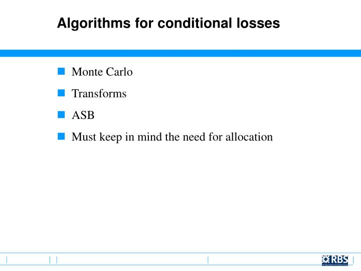 Algorithms for conditional losses