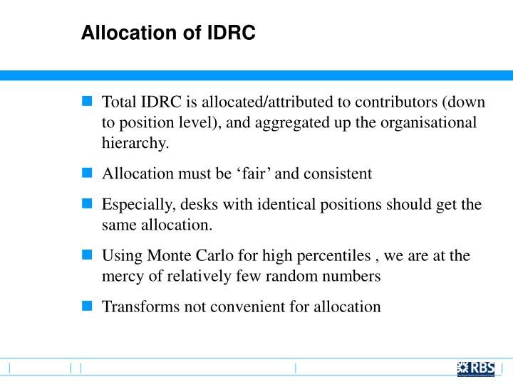 Allocation of IDRC