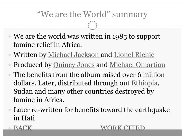 We are the world summary l.jpg