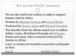 we are the world summary