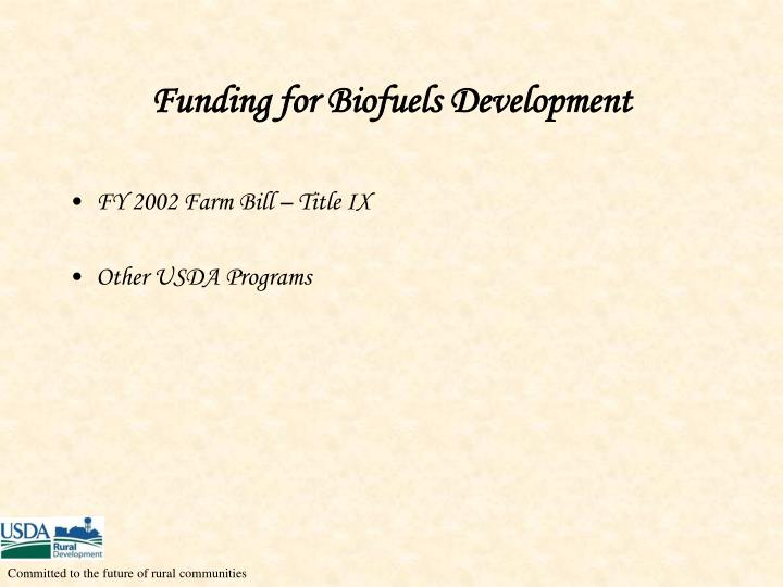 Funding for Biofuels Development
