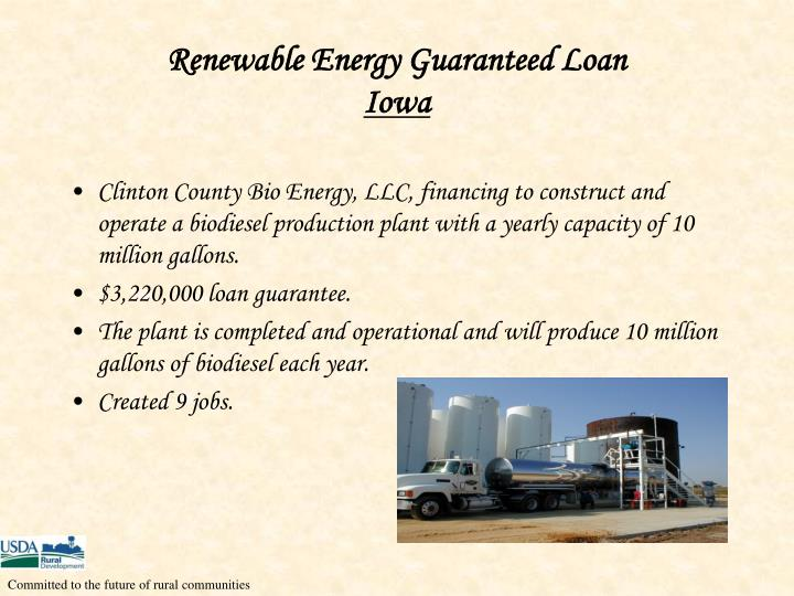 Renewable Energy Guaranteed Loan