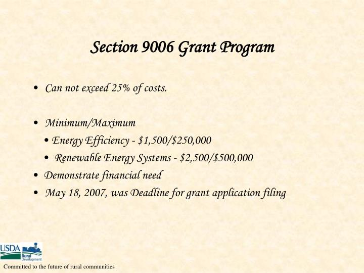 Section 9006 Grant Program