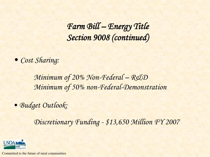 Farm Bill – Energy Title