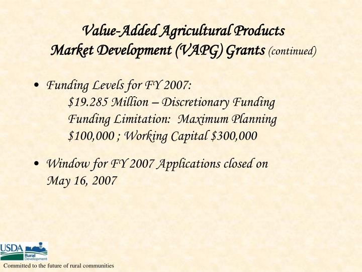 Value-Added Agricultural Products