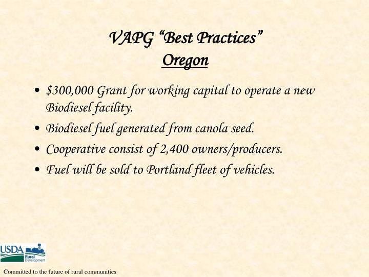 """VAPG """"Best Practices"""""""