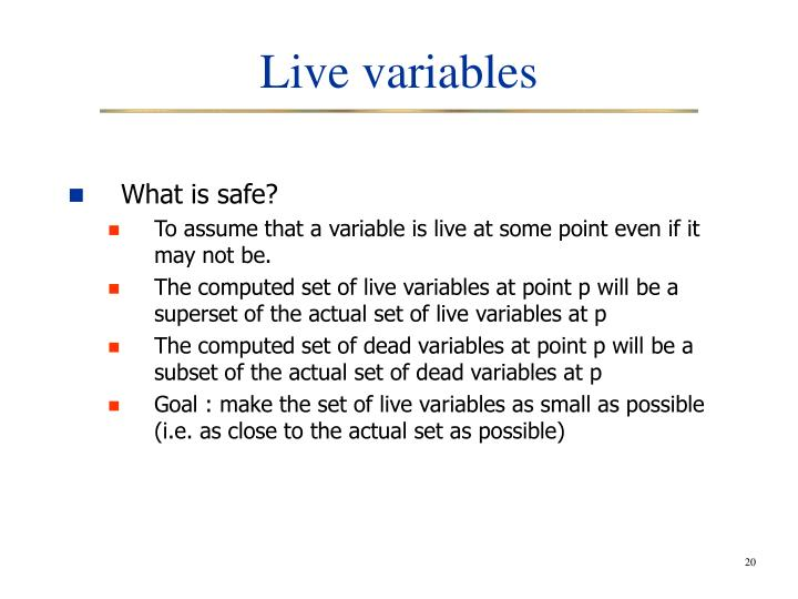 Live variables