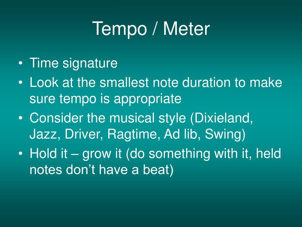 Tempo / Meter