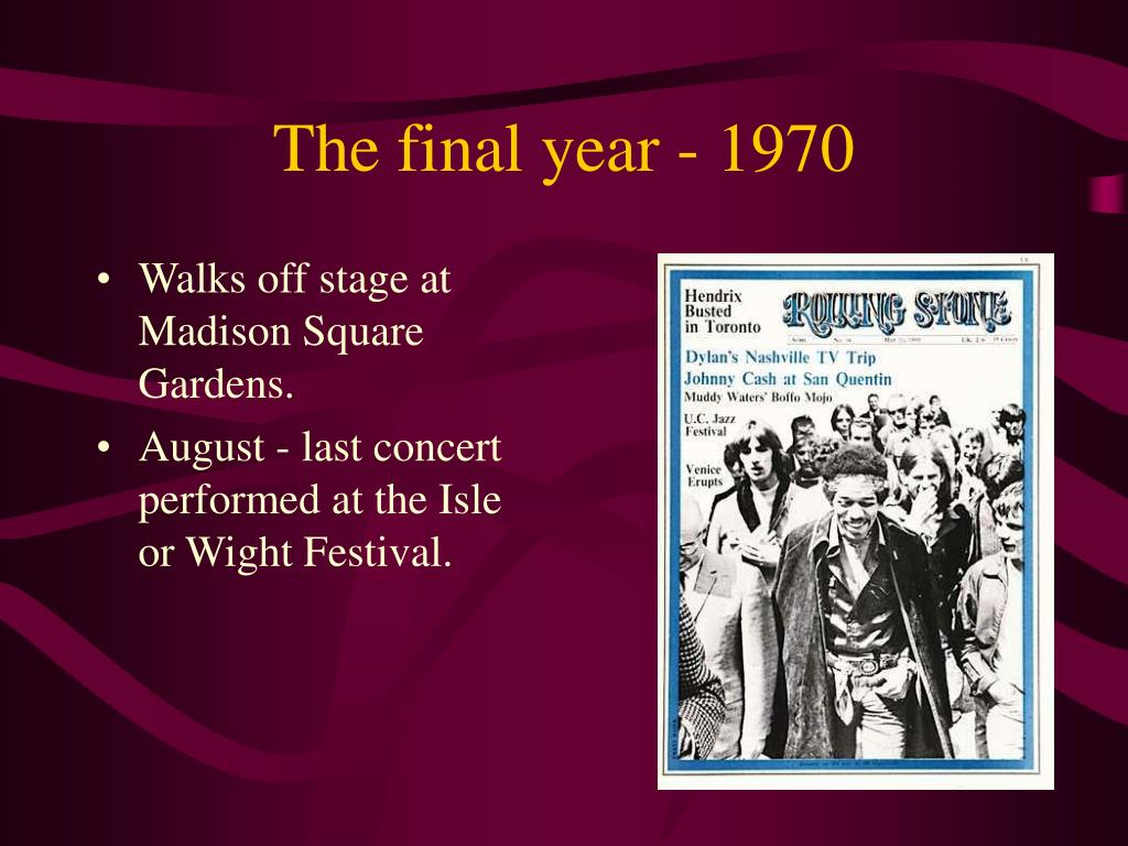 The final year - 1970