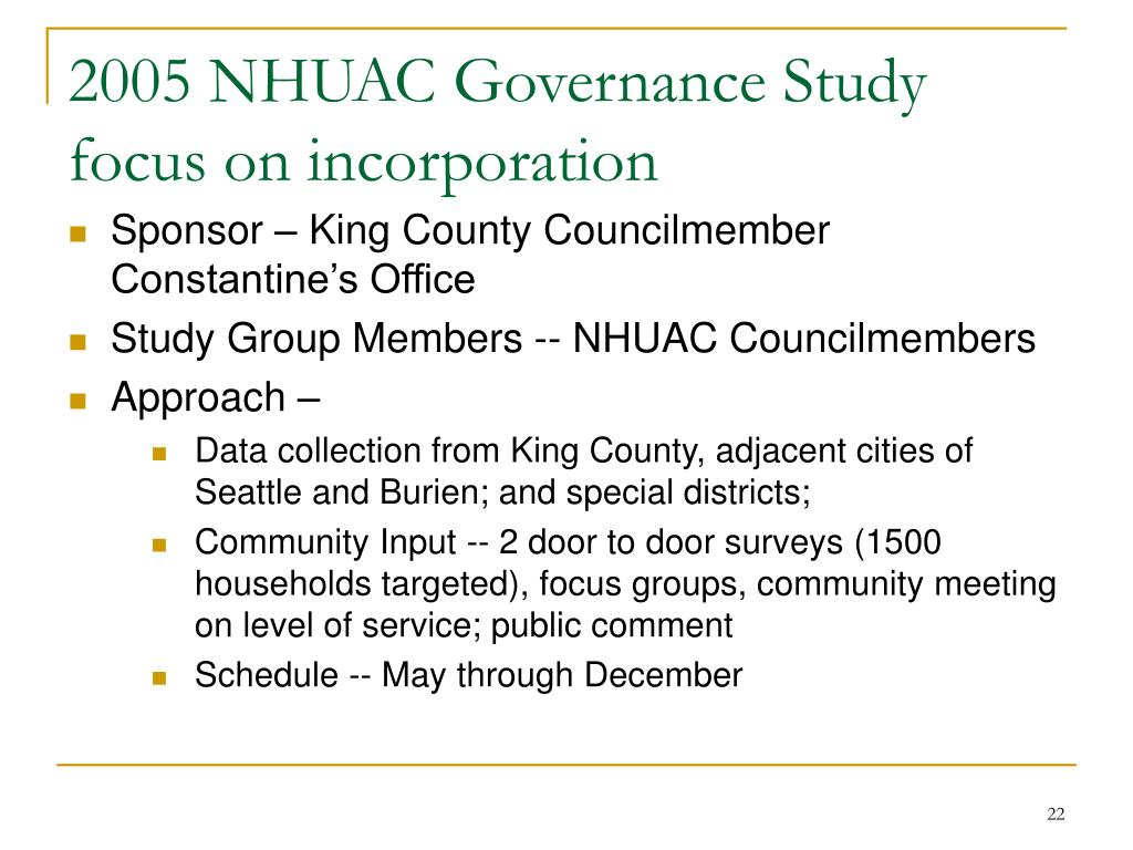 2005 NHUAC Governance Study focus on incorporation