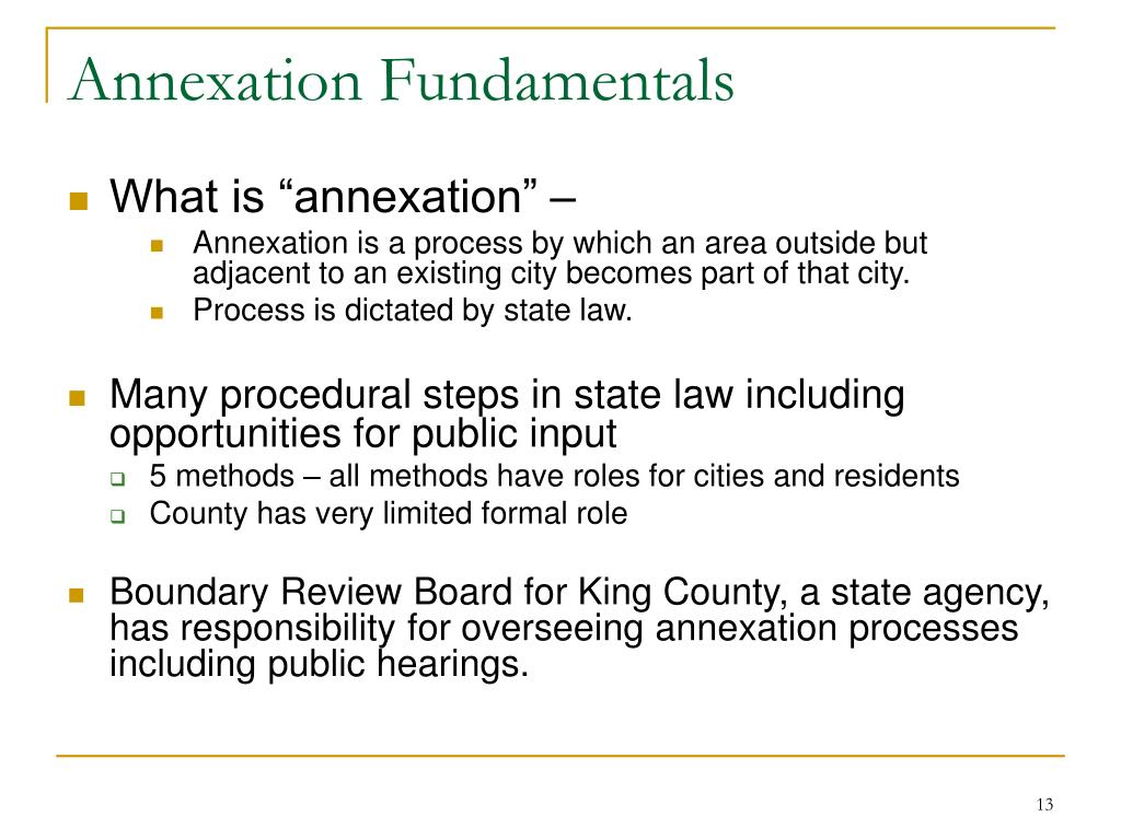 Annexation Fundamentals