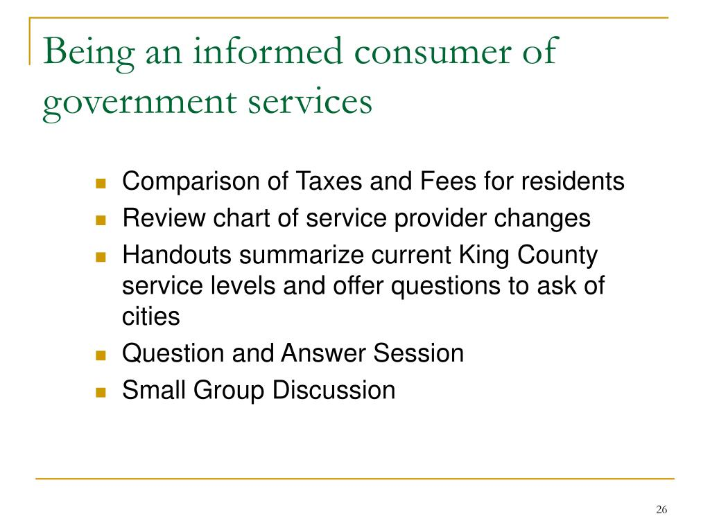 Being an informed consumer of government services