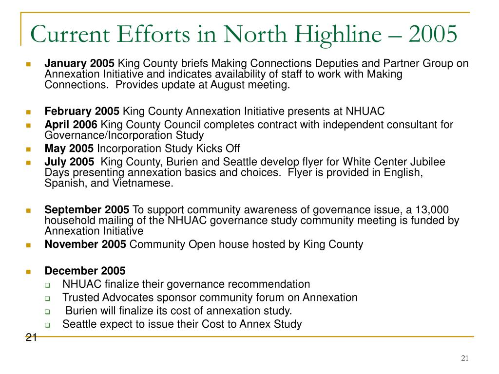 Current Efforts in North Highline – 2005