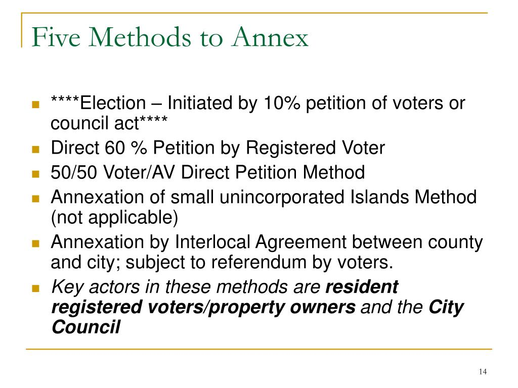 Five Methods to Annex