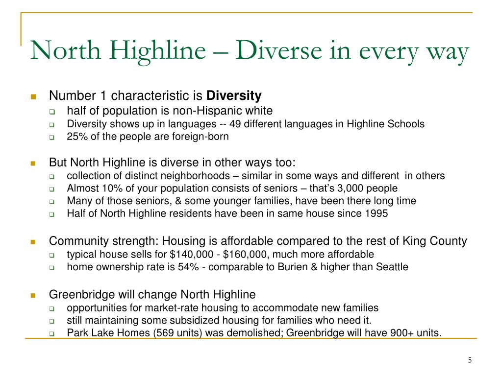 North Highline – Diverse in every way
