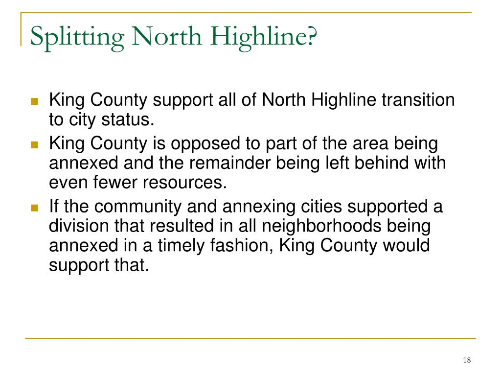 Splitting North Highline?