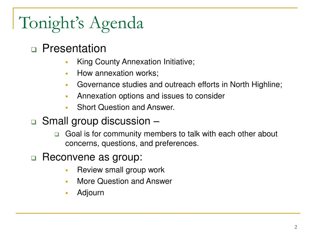 Tonight's Agenda
