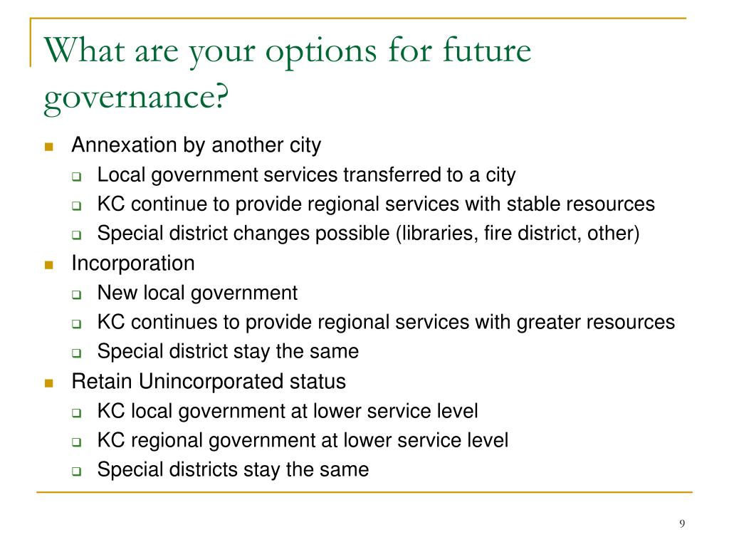 What are your options for future governance?