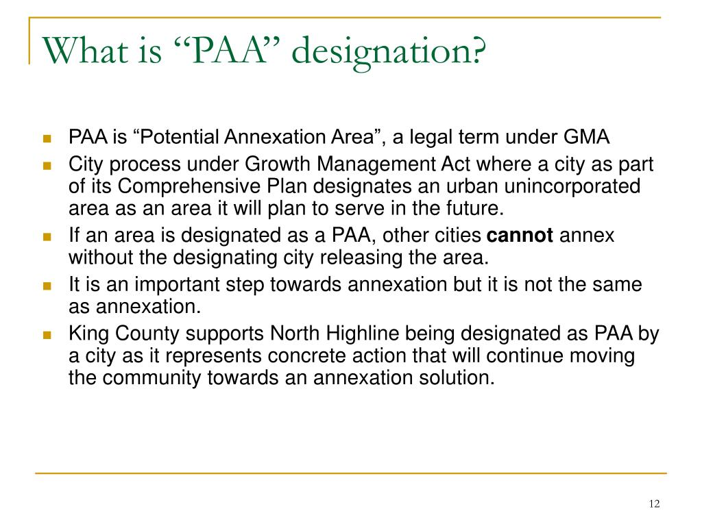 "What is ""PAA"" designation?"