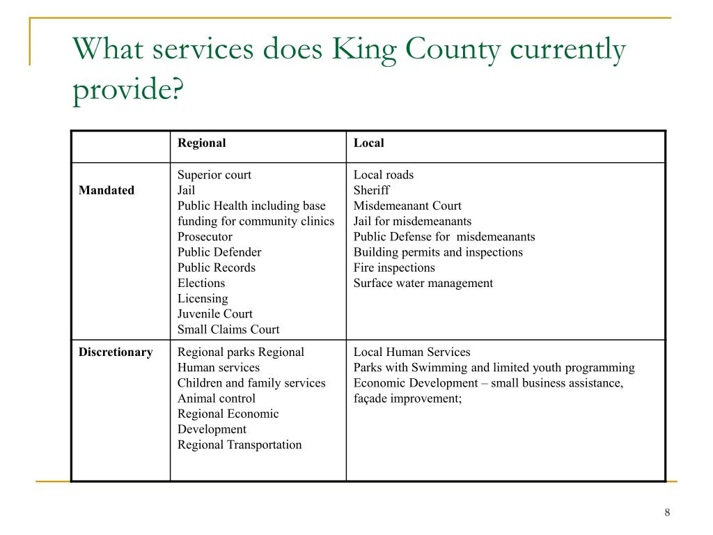 What services does King County currently provide?
