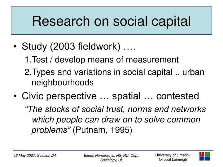 Research on social capital