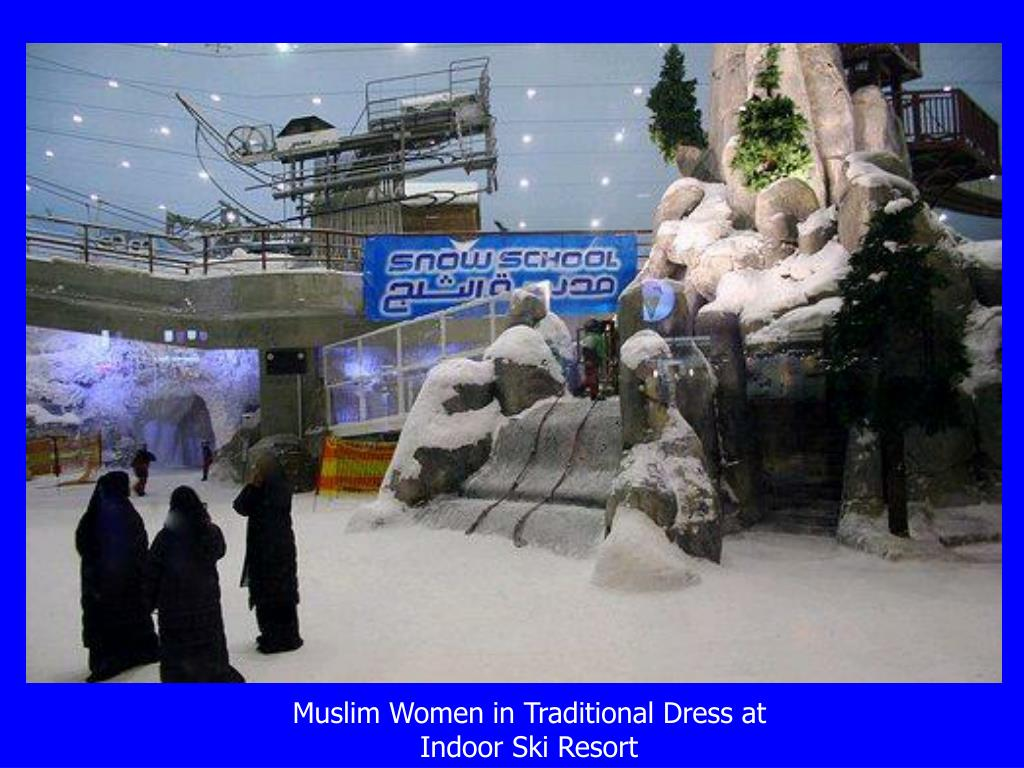 Muslim Women in Traditional Dress at  Indoor Ski Resort