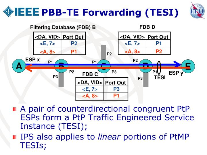 A pair of counterdirectional congruent PtP ESPs form a PtP Traffic Engineered Service Instance (TESI);
