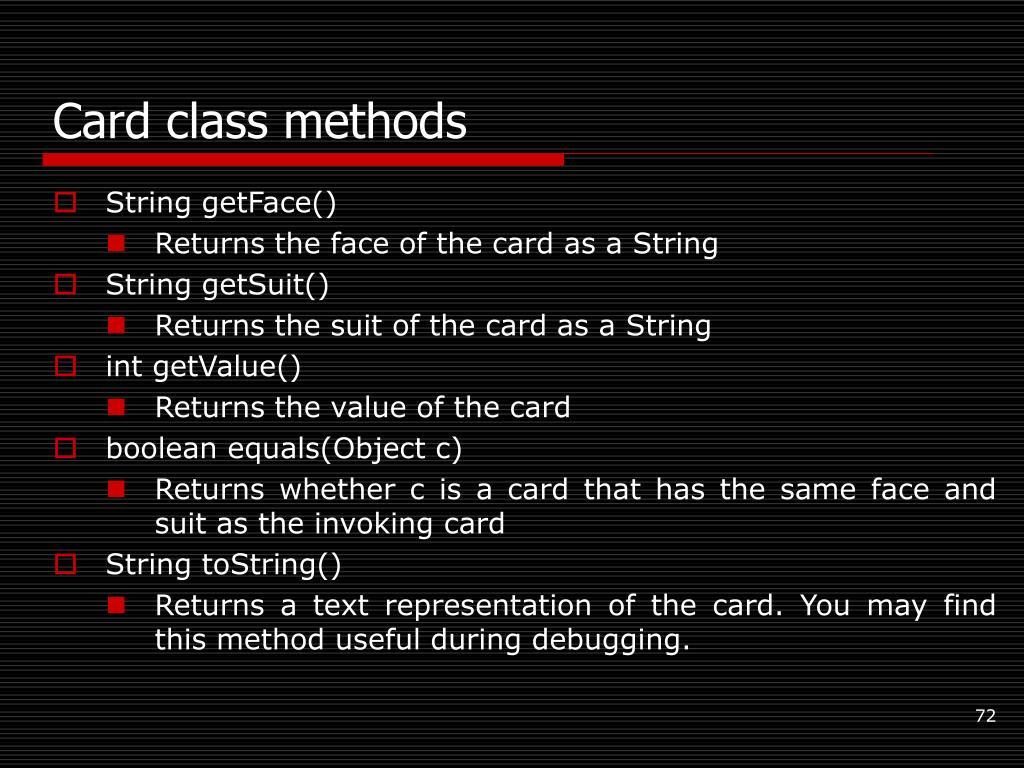 Card class methods