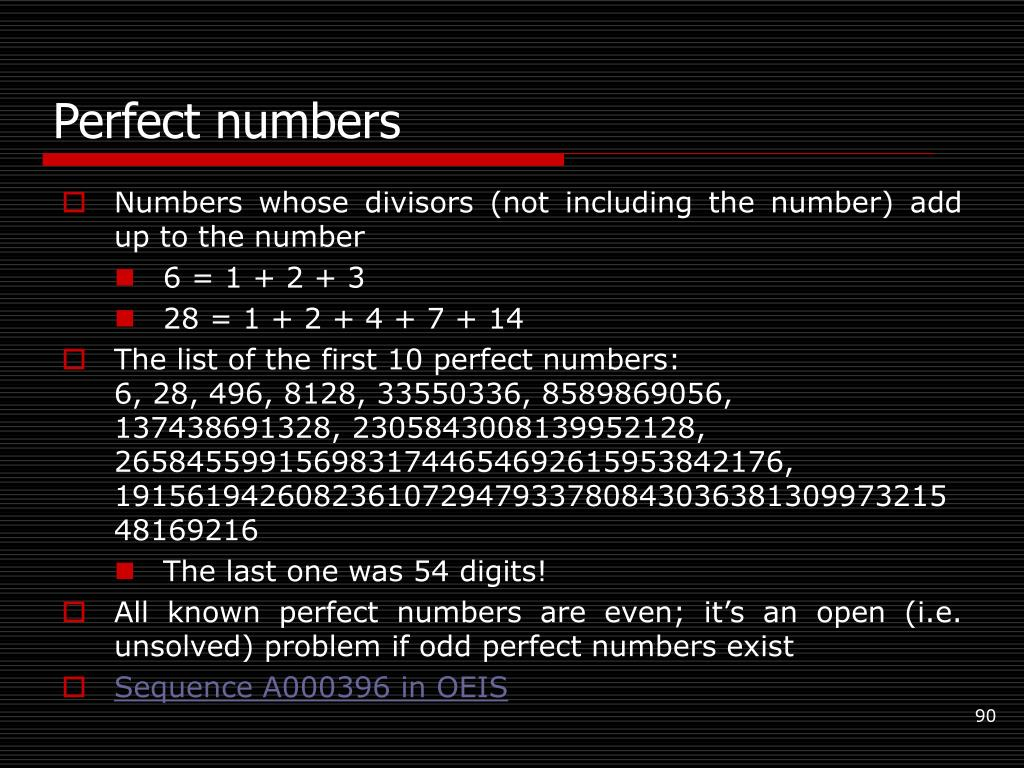 Perfect numbers