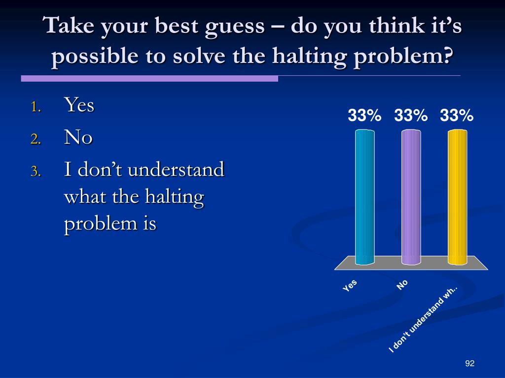 Take your best guess – do you think it's possible to solve the halting problem?