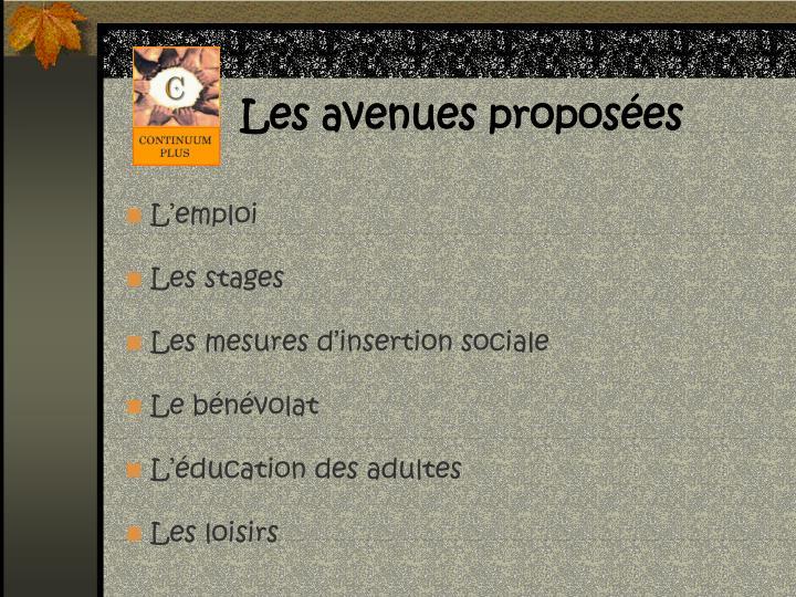 Les avenues proposées