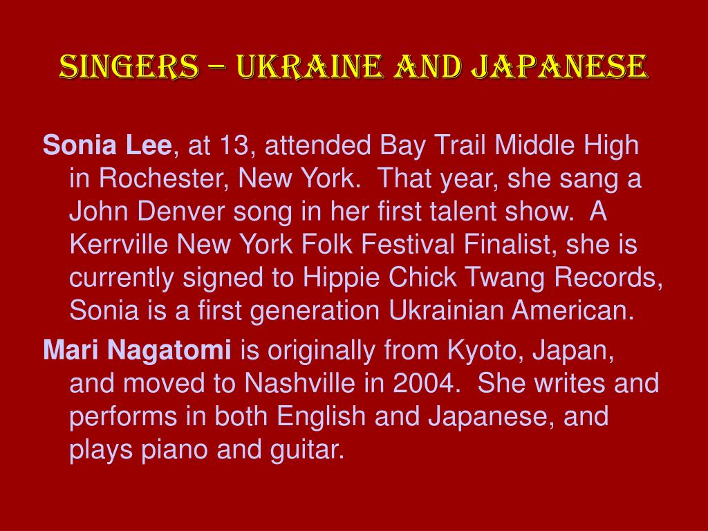 SINGERS – UKRAINE AND JAPANESE
