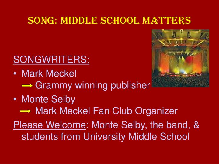Song middle school matters