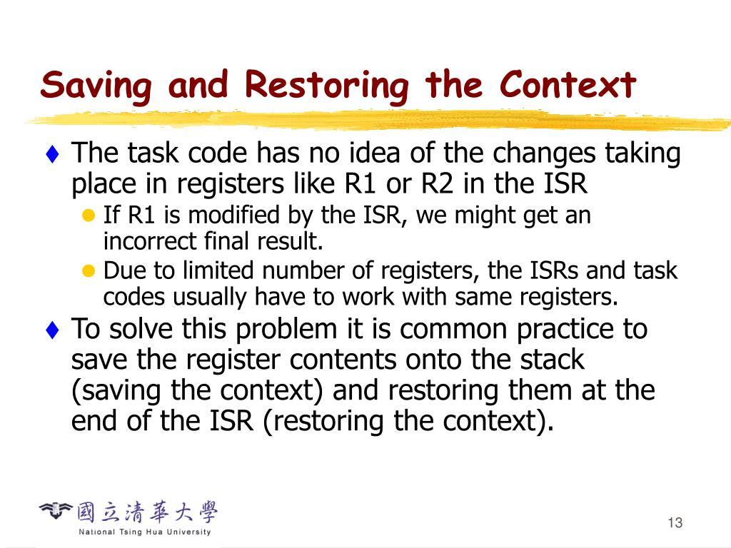 Saving and Restoring the Context