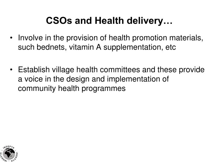 CSOs and Health delivery…