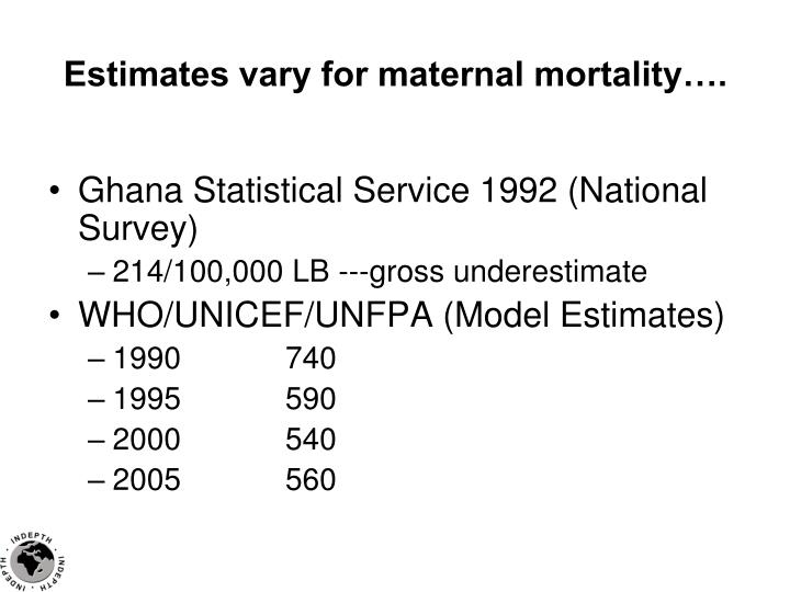 Estimates vary for maternal mortality….