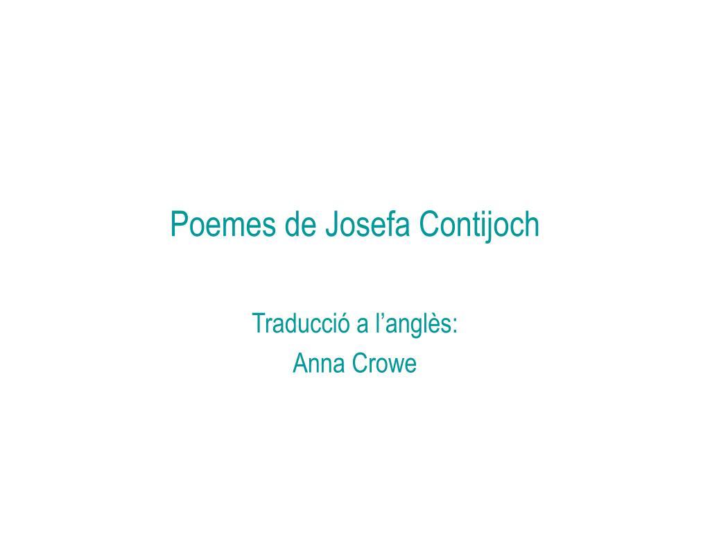 poemes de josefa contijoch