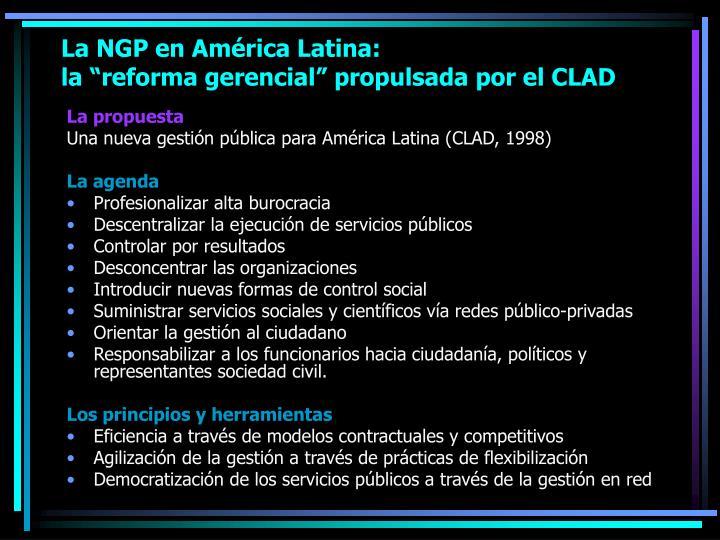 La NGP en América Latina: