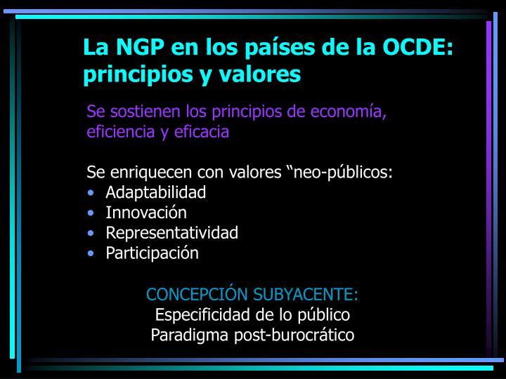 La NGP en los países de la OCDE: principios y valores