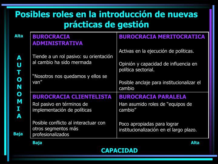 Posibles roles en la introducción de nuevas prácticas de gestión
