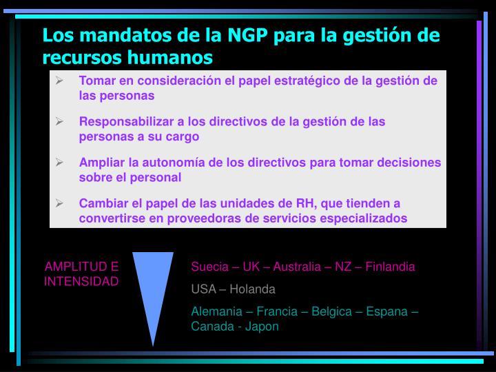 Los mandatos de la NGP para la gestión de  recursos humanos