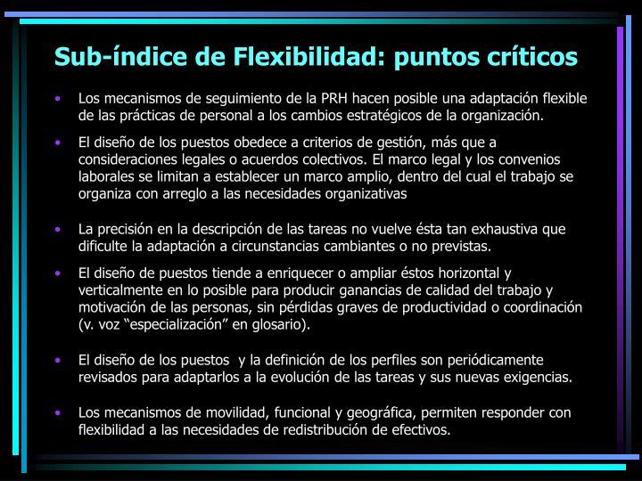Sub-índice de Flexibilidad: puntos críticos