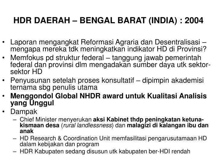 HDR DAERAH – BENGAL BARAT (INDIA) : 2004