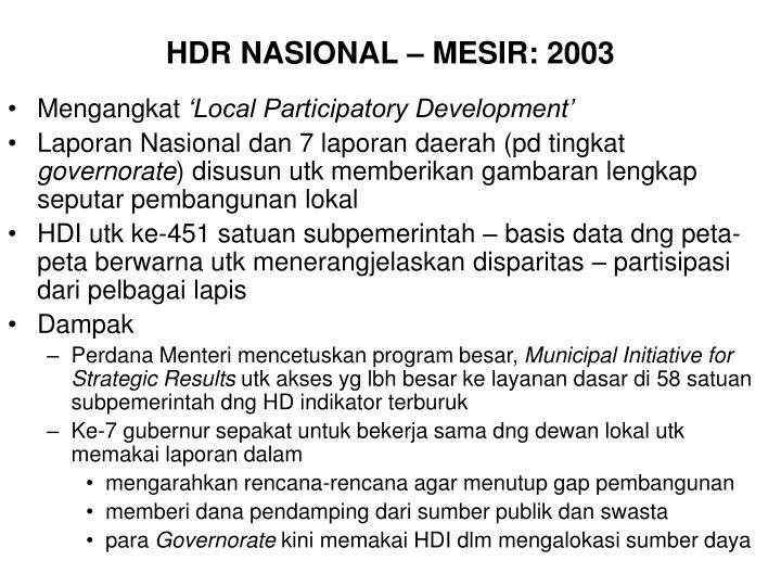HDR NASIONAL – MESIR: 2003